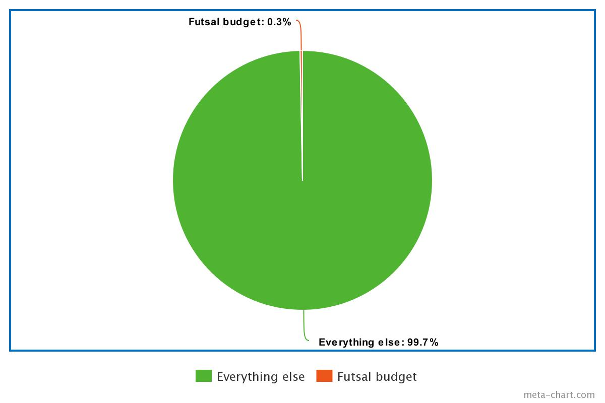 Futsal budget in comparison to total FA