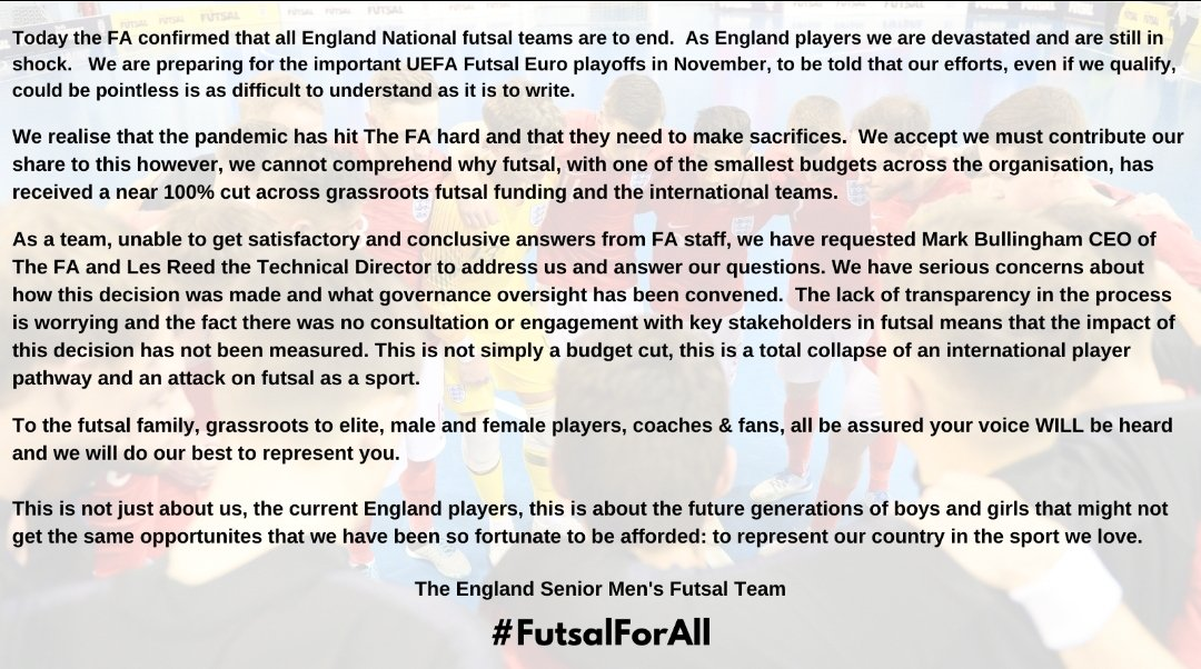 Full joint statement by England Senior Men